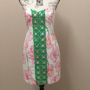 Lilly Pulitzer white, green and pink Angela dress